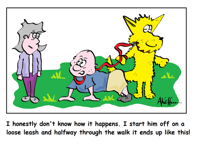 Loose Leash Dog Walking Cartoon
