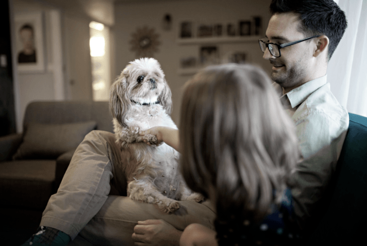 Father and dog talking with daughter about the excitement urination issue