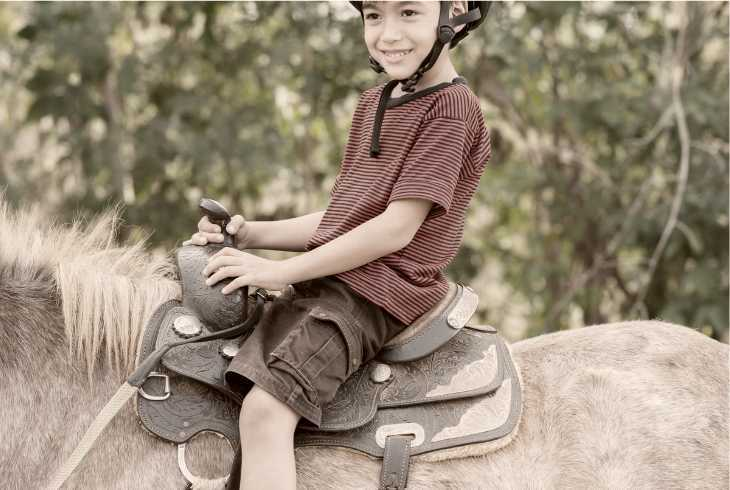 Autistic boy riding horse as part of therapy