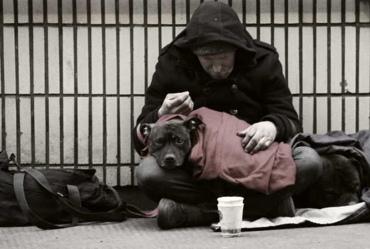 Homeless man with his dog living on the street