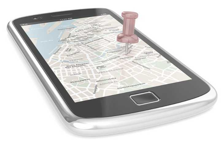 Smart phone with the map app