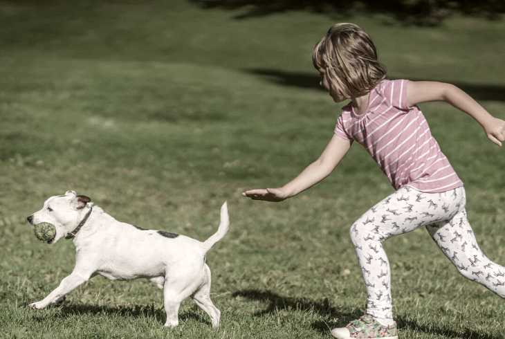 Young girl playing tag with her dog