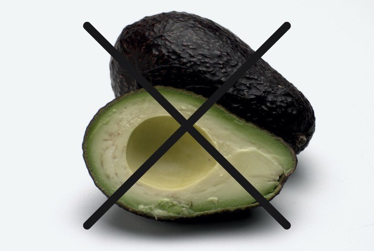 Avocado with black x through it