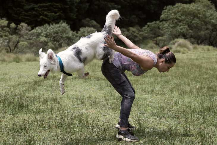 Athletic woman trick training her dog in a field