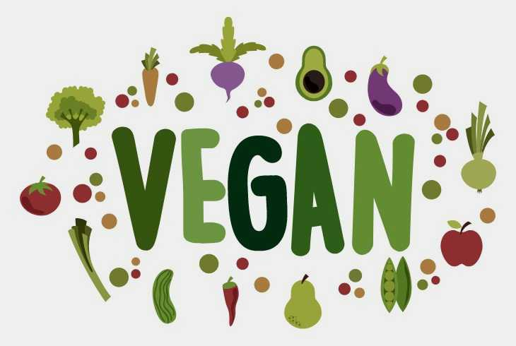 Vegan written out in green