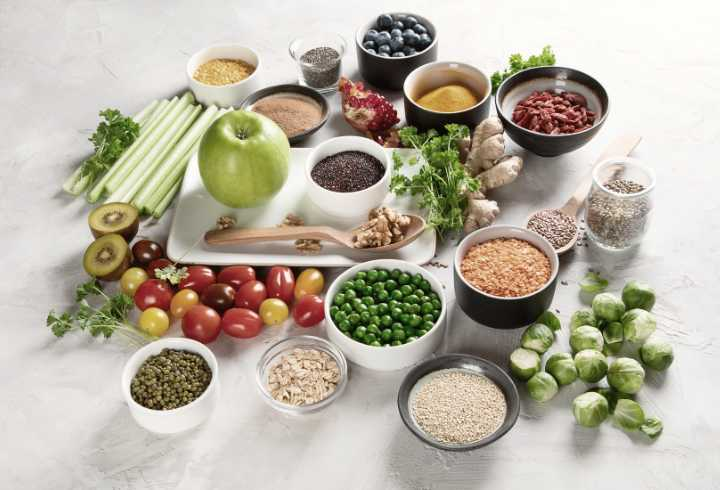 A variety of grains, vegetable's and fruits