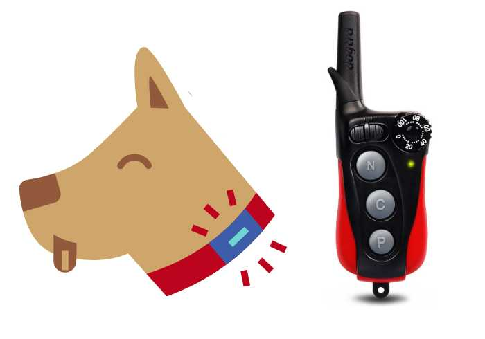 Dogtra Remote with icon of dog wearing a collar